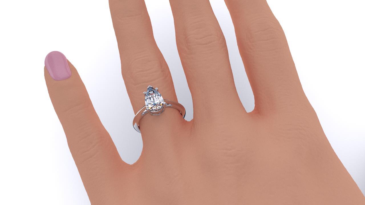 Perth diamond company classic pear diamond ring hand view
