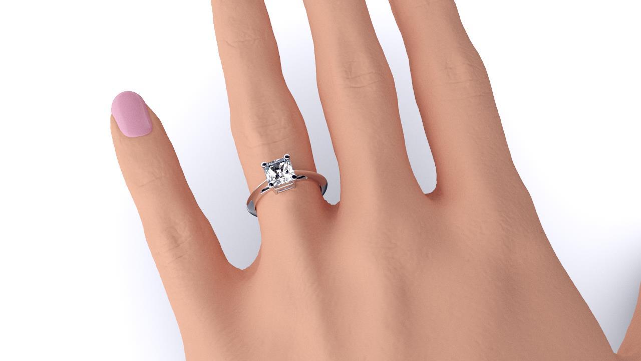 Perth diamond company classic radiant diamond ring hand view