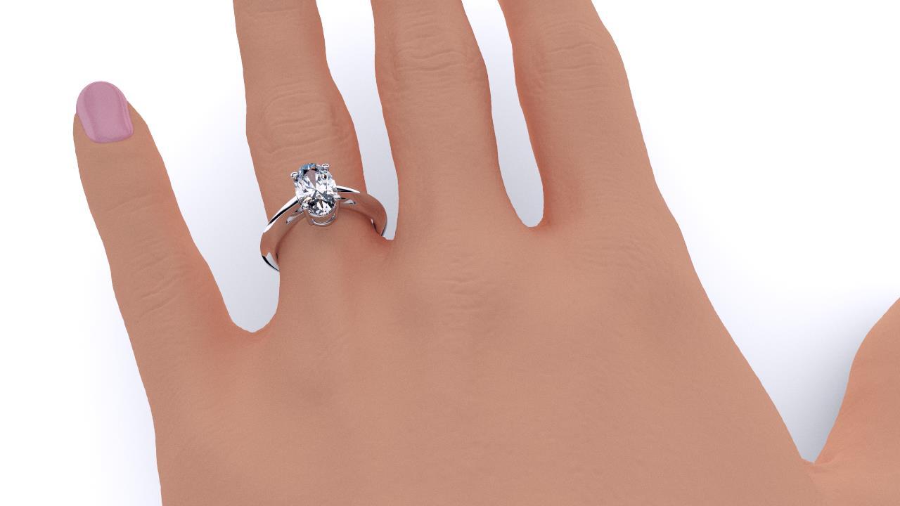 Perth diamond company classic oval diamond ring hand view