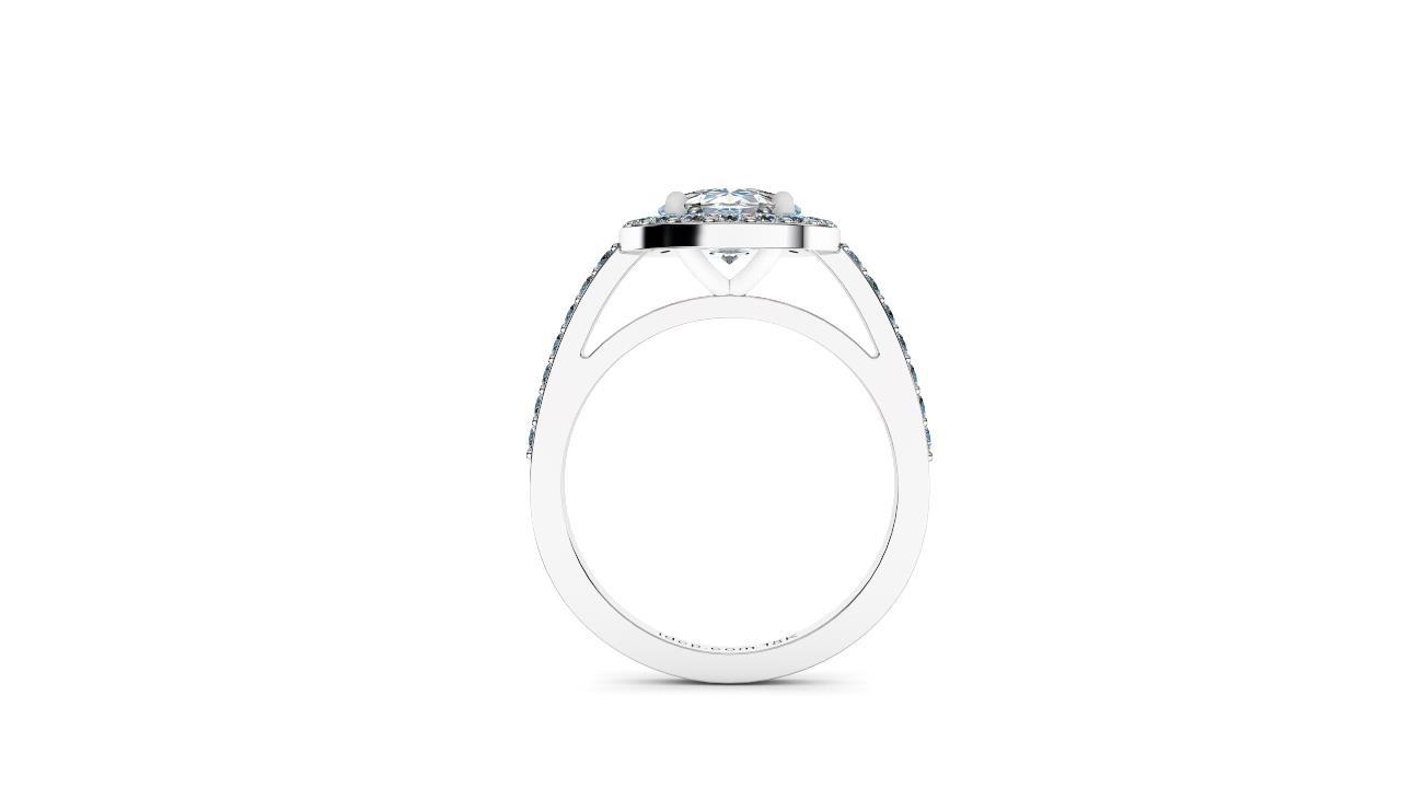 Perth diamond company halo oval diamond ring side view