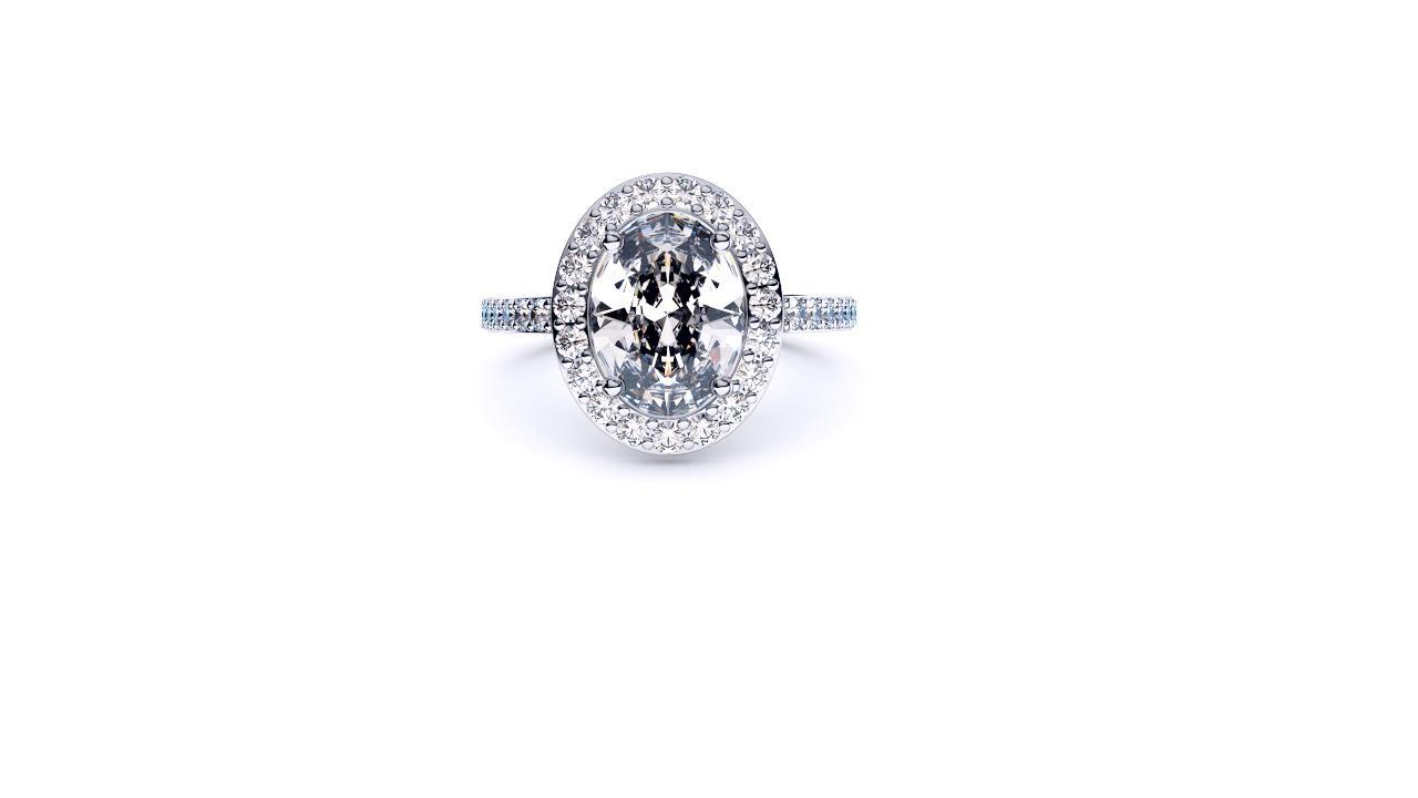Perth diamond company halo oval diamond ring front view