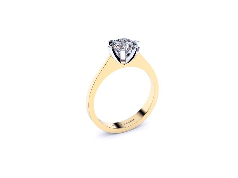 Perth diamonds engagement ring round solitaire with tap up band angle view