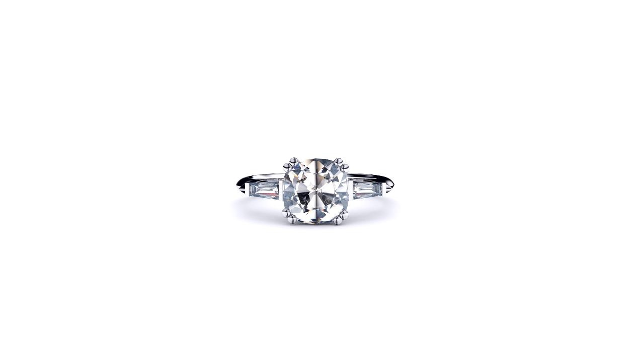 Perth diamonds engagement ring three stone cushion cut with tapered baguettes front view