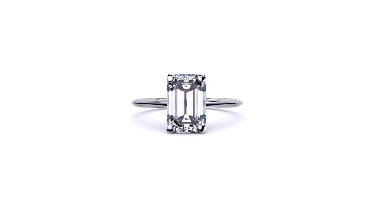 Perth diamond company classic emerald 4 claw diamond ring front view