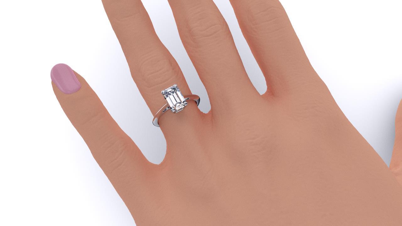 Perth diamond company classic emerald 4 claw diamond ring hand view