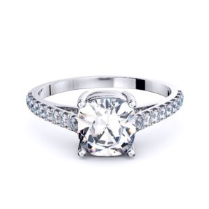 Perth diamonds cushion solitaire with diamond set band edge view