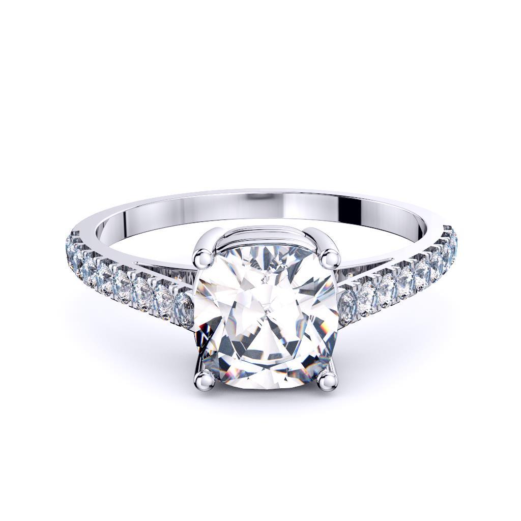 Perth diamonds cushion solitaire with diamond set band edge view