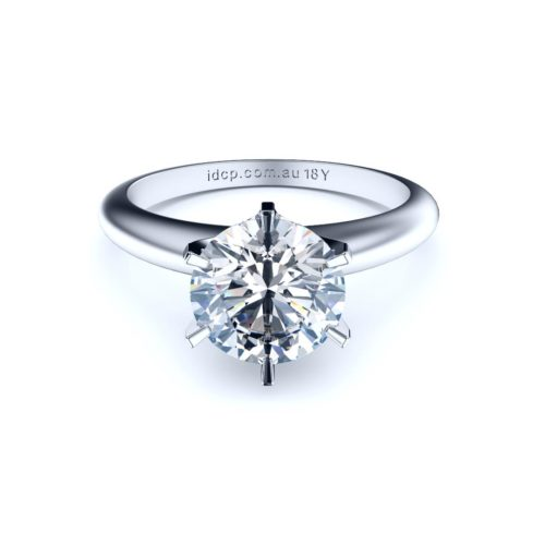 Perth diamond company classic round 6 claw diamond ring front view