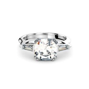 Perth diamonds engagement ring three stone cushion cut with tapered baguettes front page view